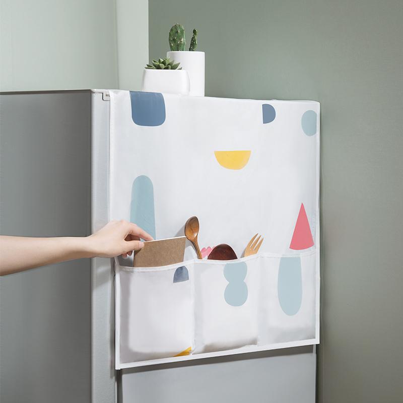 创意冰箱盖布防尘罩收纳袋家电顶防水盖巾家用遮冰箱罩多彩挂袋