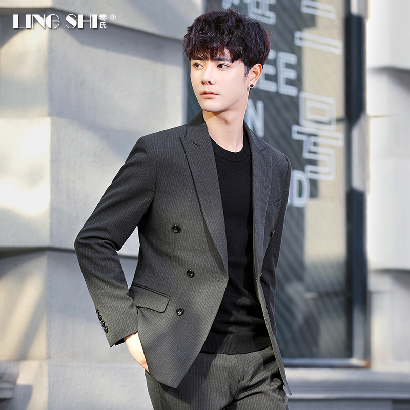 Suit three-piece suit men slim double-row button Korean version trend striped groom wedding dress casual small suit.