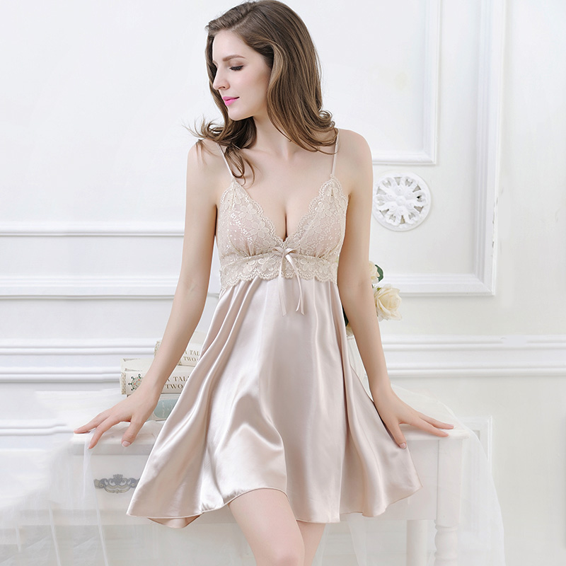 094037f127b Lingerie men s champagne women summer ice silky sexy pajamas V-neck big  skirt lace spaghetti strap nightdress