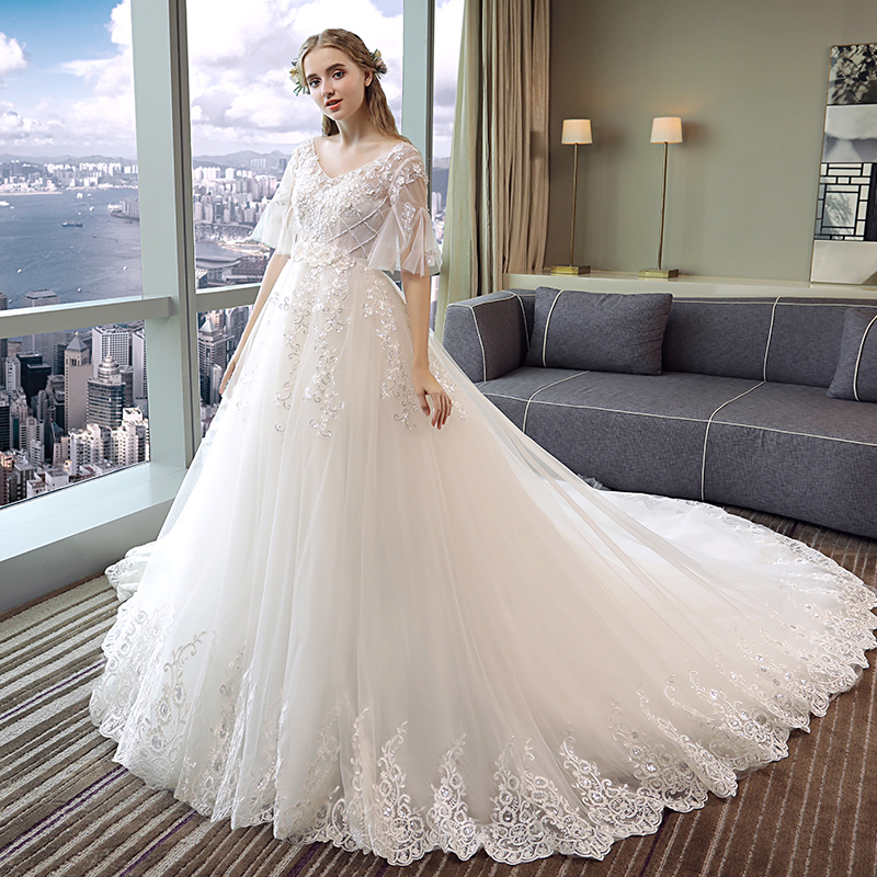 de41eee29a777 Pregnant women wedding dress 2019 New trailing Sen Department of white women  with the same paragraph bride word shoulder large size was thin