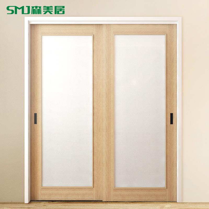 森美居廚房推拉門日式原木色實木門現代簡約臥室內門玻璃衛生間門