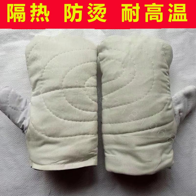Thickened heat insulation high temperature protection gloves white canvas  cotton hand stuffy child baking oven microwave oven anti-hot two fingers