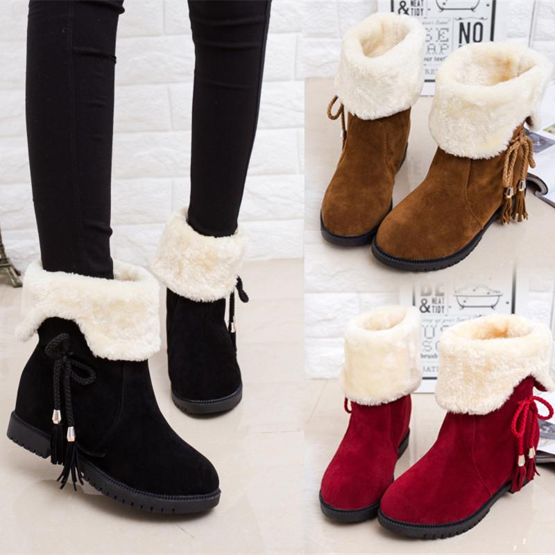 Autumn and winter snow boots women's boots women's shoes non-slip flat bottom plus velvet thick short boots warm two wear cotton shoes women's boots