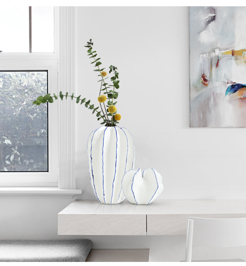 Creative jingdezhen ceramic vase furnishing articles Nordic sitting room of I and contracted dry flower arranging flowers light key-2 luxury home decoration