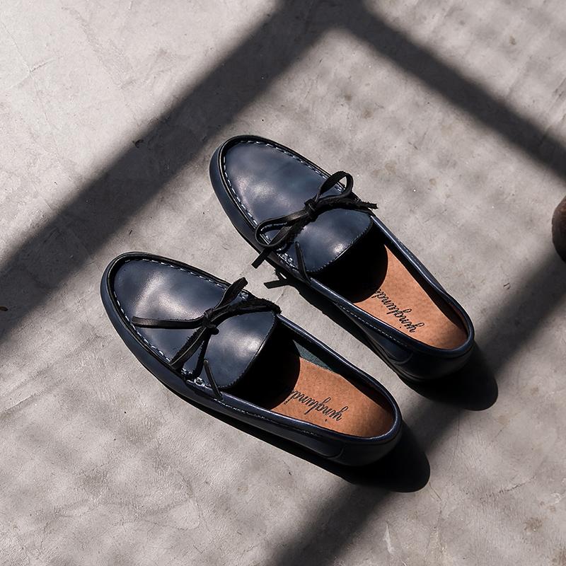 夏季透气懒人头乐福鞋男韩版潮流豆豆鞋真皮鞋英伦平底套脚帆船鞋