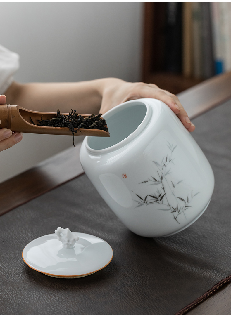 Ultimately responds to the ceramic tea canister seal storage tank size 1 catty installed checking gift box household pu 'er tea POTS awake
