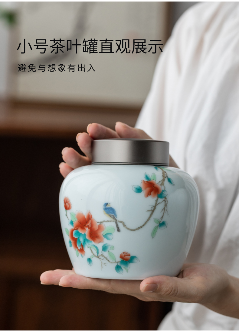 Ultimately responds to double aluminum cover caddy fixings household enamel ceramic seal tank large tea box of Japanese tea warehouse storage tank is waking