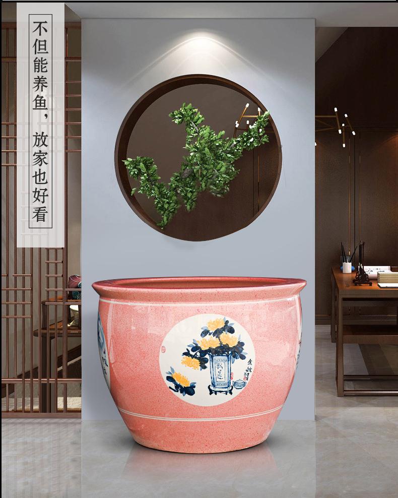 Basin of jingdezhen ceramic aquarium pet gold fish tank water lily lotus king turtle GangPen sitting room place the flood water