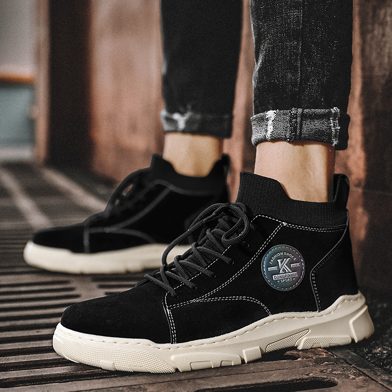 Осень мужская обувь 2020 новый высокий помогите мартин сапоги мужчина тенденция корейский механическая обработка кожаная обувь дикий случайный обувь обувь