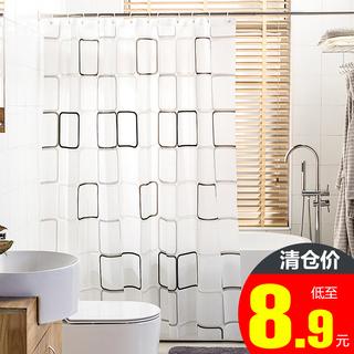 Занавес для ванной,  Сгущаться занавески для душа установите перфорация геометрическом плесень занавес ребенок ткань ванная комната вешать занавес ванная комната занавес поляк отрезать ванна крышка, цена 125 руб
