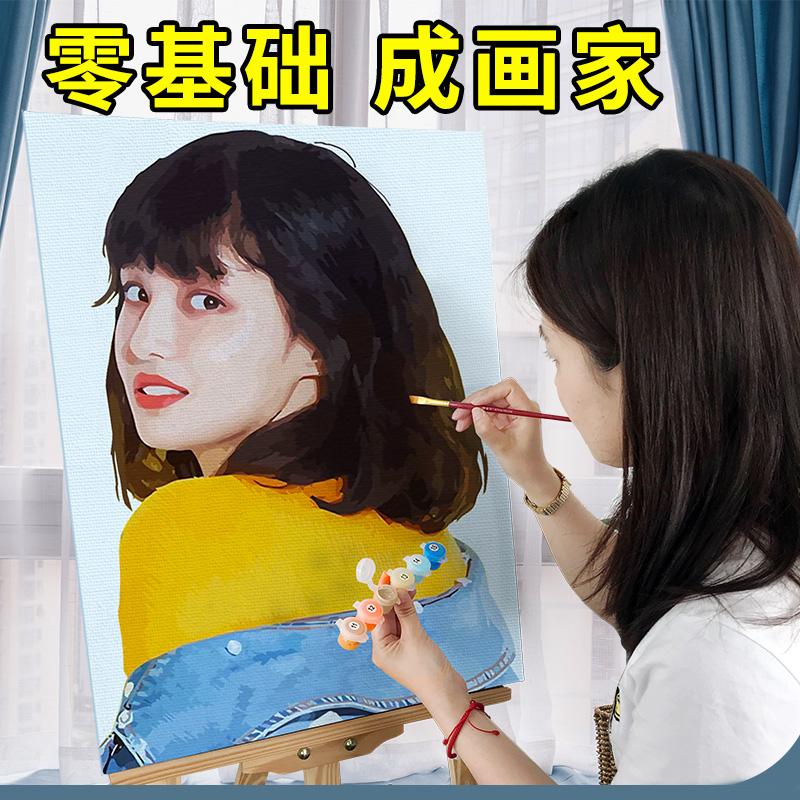 diy人物手工照片手绘彩画油画填色个性定制减压创意油数字装饰画