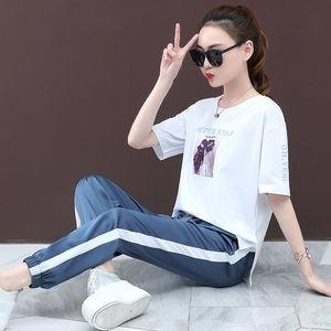 含棉t 2019夏季新款女裝時尚寬松運動套裝女長褲短袖兩件