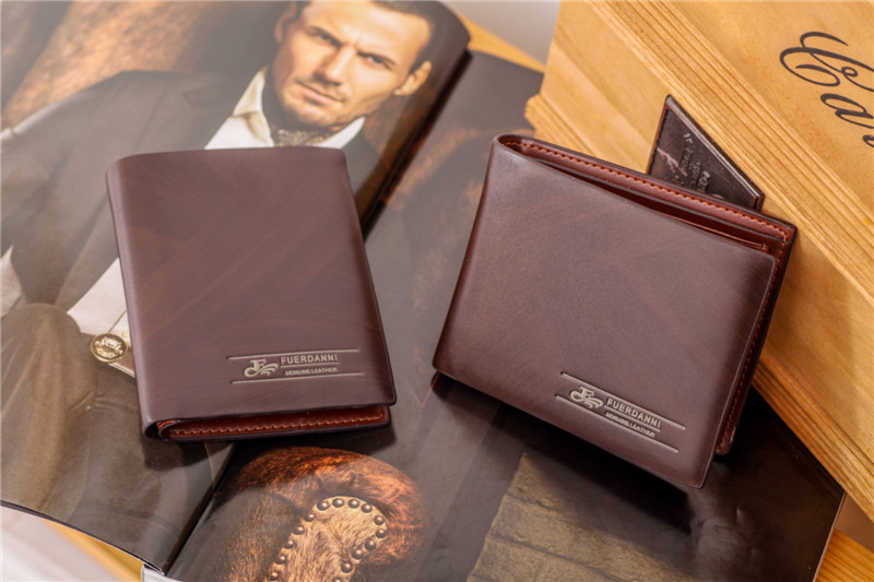 a9951644c30c Free shipping 1pc High quality Fuerdanni brand male casual dark brown color  short design genuine leather cowhide wallet