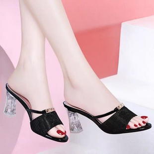 夏季新款韩版时尚百搭粗跟露趾水钻凉拖鞋