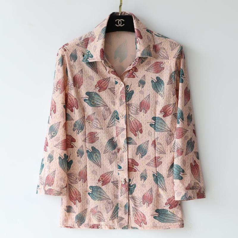 中老年衬衣夏装袖2020年衬衫新款女中妈妈雪纺春装装上衣开衫小衫