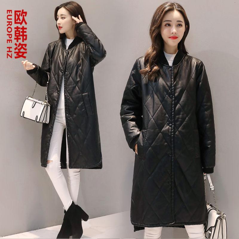 PU外套服女中长款皮衣2018冬季新款韩版宽松休闲时尚加厚皮棉棉衣