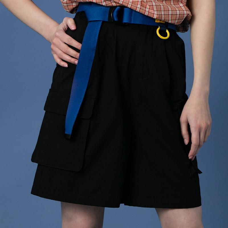 短裤工装纯棉女中长款宽松直筒韩版bf阔腿黑色v短裤五分裤ins夏裙