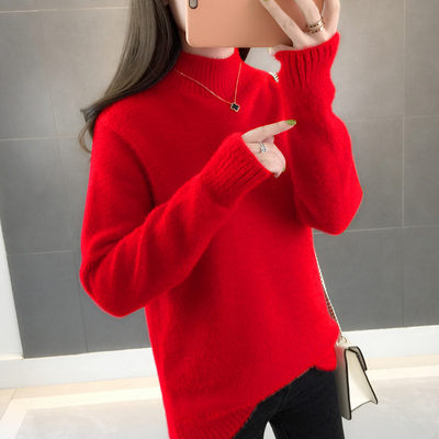 Sweater female imitation water velvet 2020 autumn and winter new explosion model thick red loose 慵 lazy wild high collar bottoming shirt