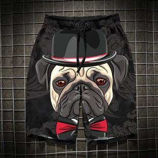男士短裤夏季运动休闲沙滩裤海边度假速干狗头宽松个性潮牌短裤男