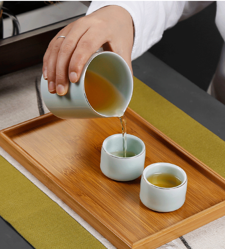 The Crack of a pot of 2 cup travel celadon dry mercifully tea suit portable package 2 people onboard kunfu tea tea
