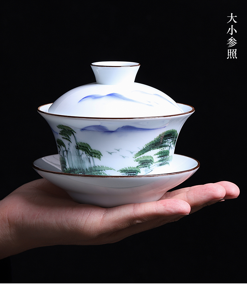Celadon only three tureen large heavy 300 ml super cup king rushed to use prevent hot single tea bowl