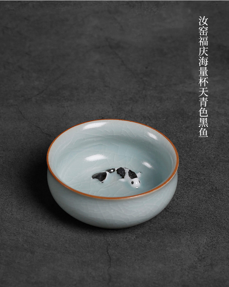 Your up ceramic cups a single open can raise move archaize large kunfu tea master cup single bottom of fish