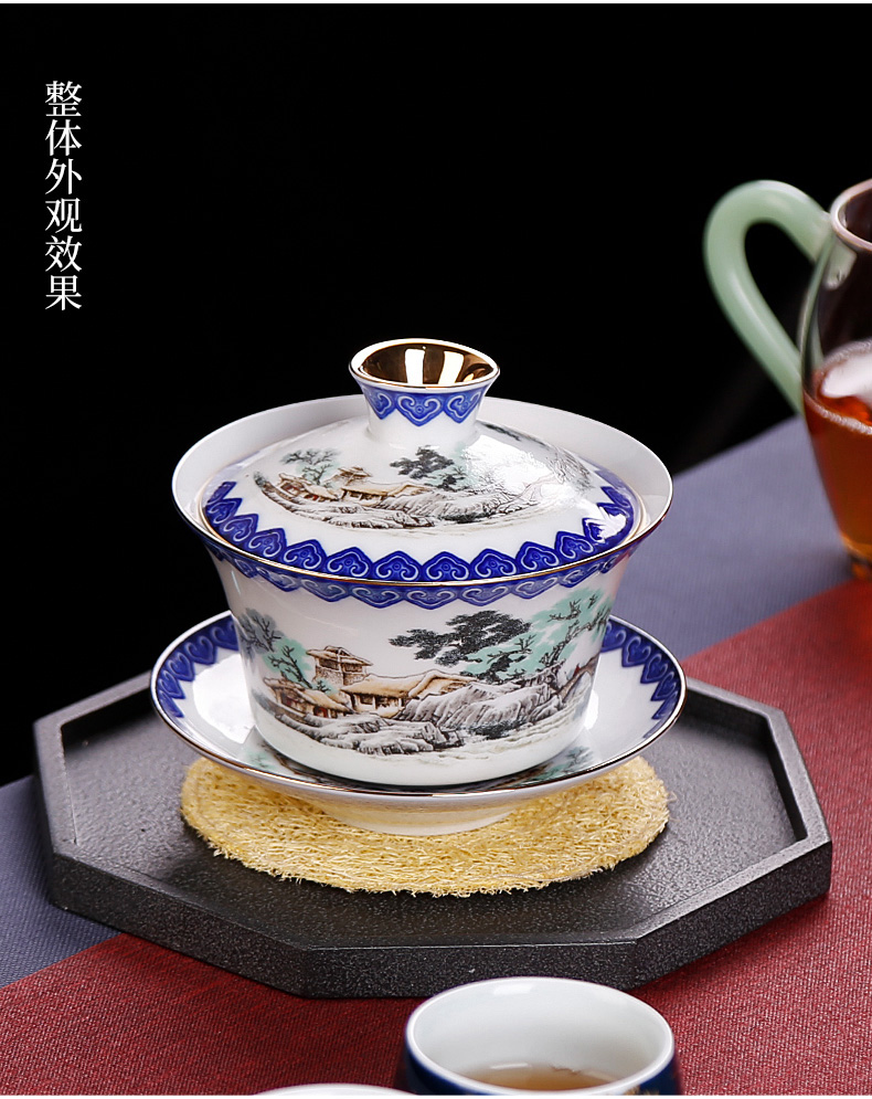 Only three tureen of blue and white porcelain tea cups to heavy large household single oversized tea bowl of super 300 ml