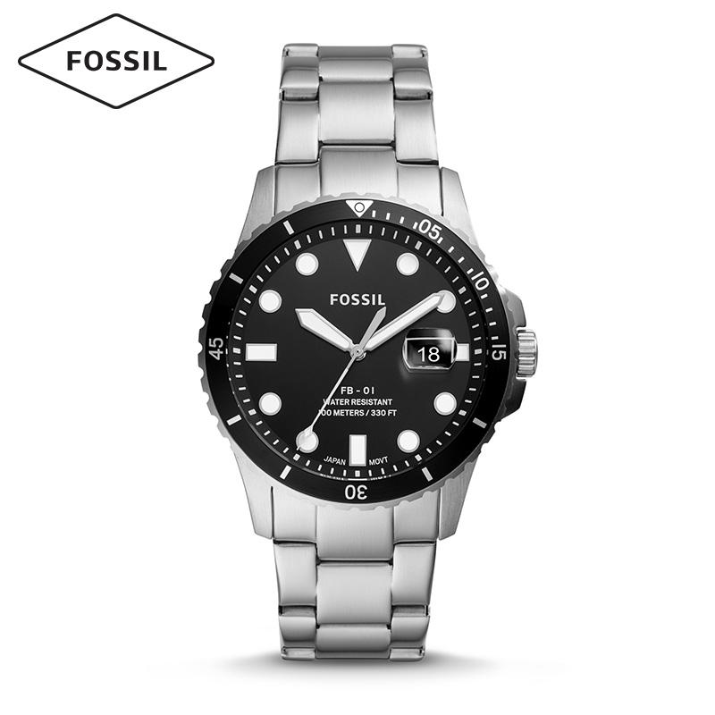 Fossil化石男款正品创意拼色表盘时尚商务男表不锈钢表带学生男表
