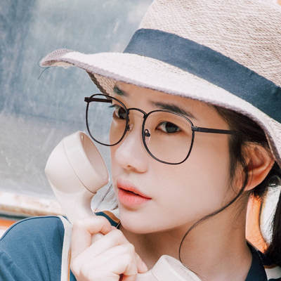 c88de08fb9 Ultra-light pure titanium glasses frame retro glasses frame female Korean  version of the tide myopia mirror round face large frame can be equipped  with ...