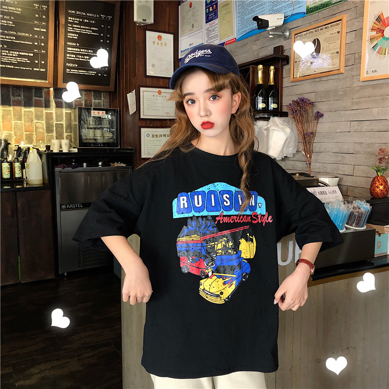 4c97afc2a2 Real Shot 2019 Summer Korean Version Loose Round Neck Printing Letters  Cartoon Large Size Women 'S Shirt Short-Sleeved T-Shirt