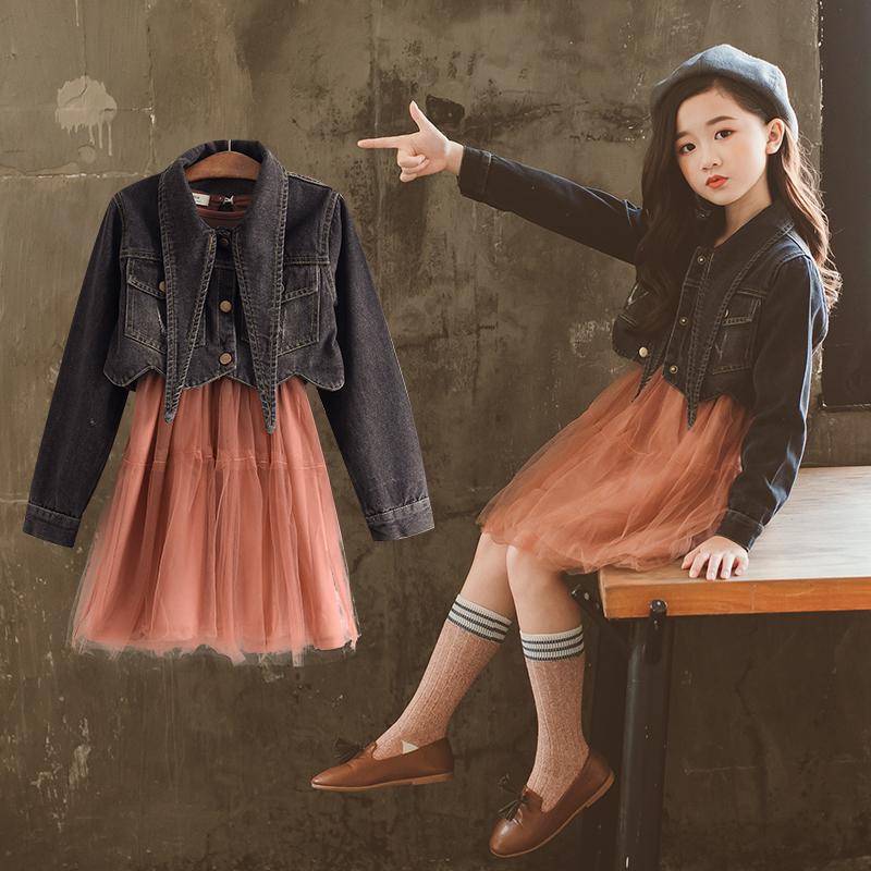 10女童2018新款套装连衣裙6春秋8韩版12岁儿童时尚牛仔外套两件套