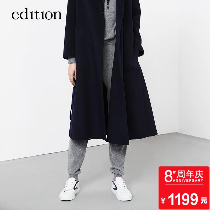 edition山羊絨抽繩小腳褲秋舒適休閑運動風EA173PAT303 moco