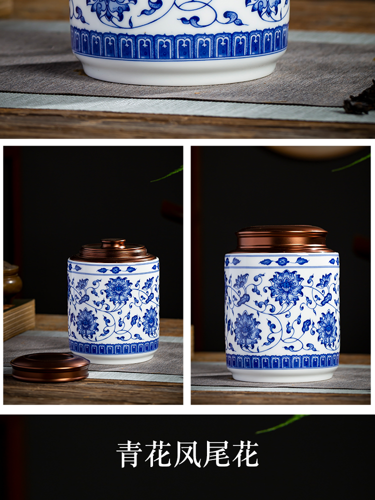 Blue and white porcelain of jingdezhen ceramics half jins of household seal loose tea caddy fixings seal mouldproof moistureproof storage tank
