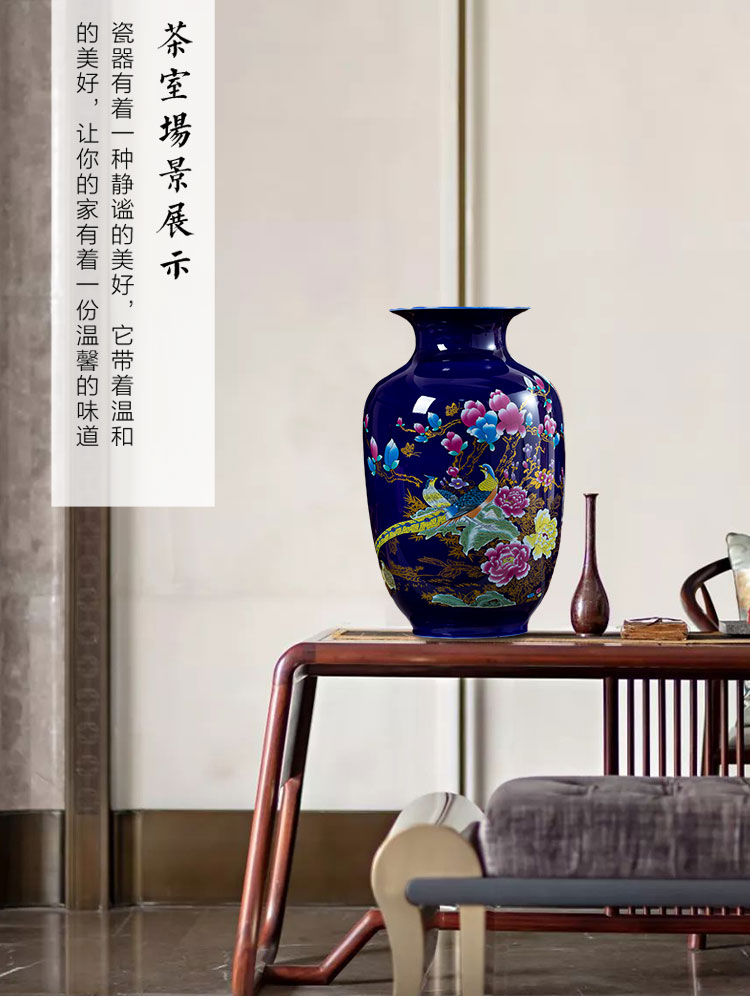 Jingdezhen ceramics golden pheasant blue small vases, flower arranging place, Chinese style household living room TV cabinet decoration