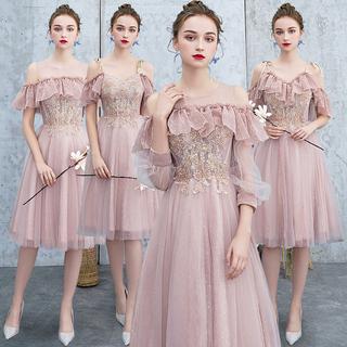 Подружка невесты одежда 2019 новая весна модель сестры юбка длина розовый подружка невесты группа платья темперамент выйти замуж платье бессмертный, цена 1856 руб