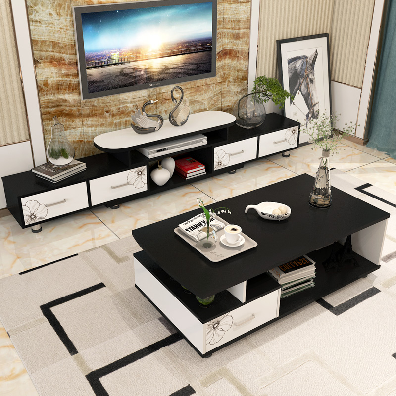 Simple TV Cabinet Simple Modern Mini Combination Set Coffee Table Bedroom  TV Cabinet Small Apartment Living