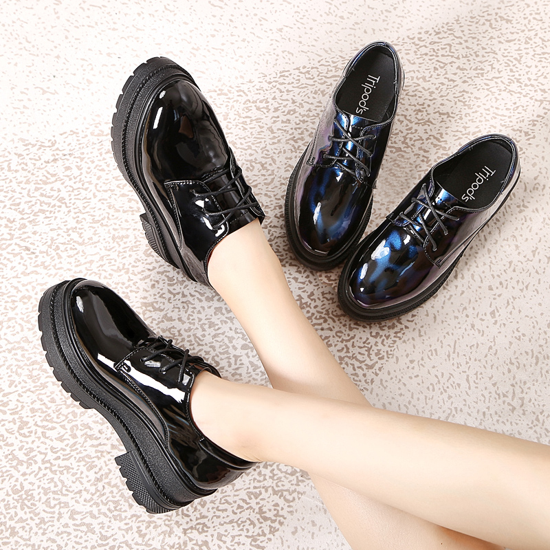 8b4295af064c Black patent leather platform shoes women s platform shoes British style  shoes ins small shoes high heel slope with spring shoes