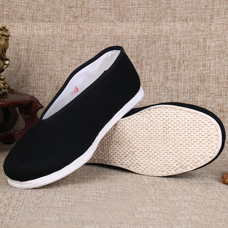 春季老北京布鞋男款圆口手工千层底单鞋休闲老头鞋太极布底鞋大码