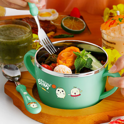 Children's bowl anti-fall and anti-scalding stainless steel 304 tableware with handles double ears for pupils to eat and drink soup baby bowls and chopsticks