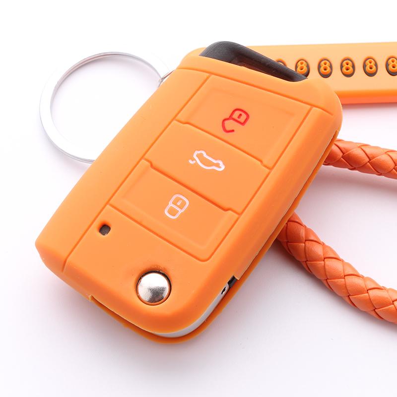 福斯朗逸高尔夫途昂凌渡速腾宝来汽车硅胶钥匙包套详细照片