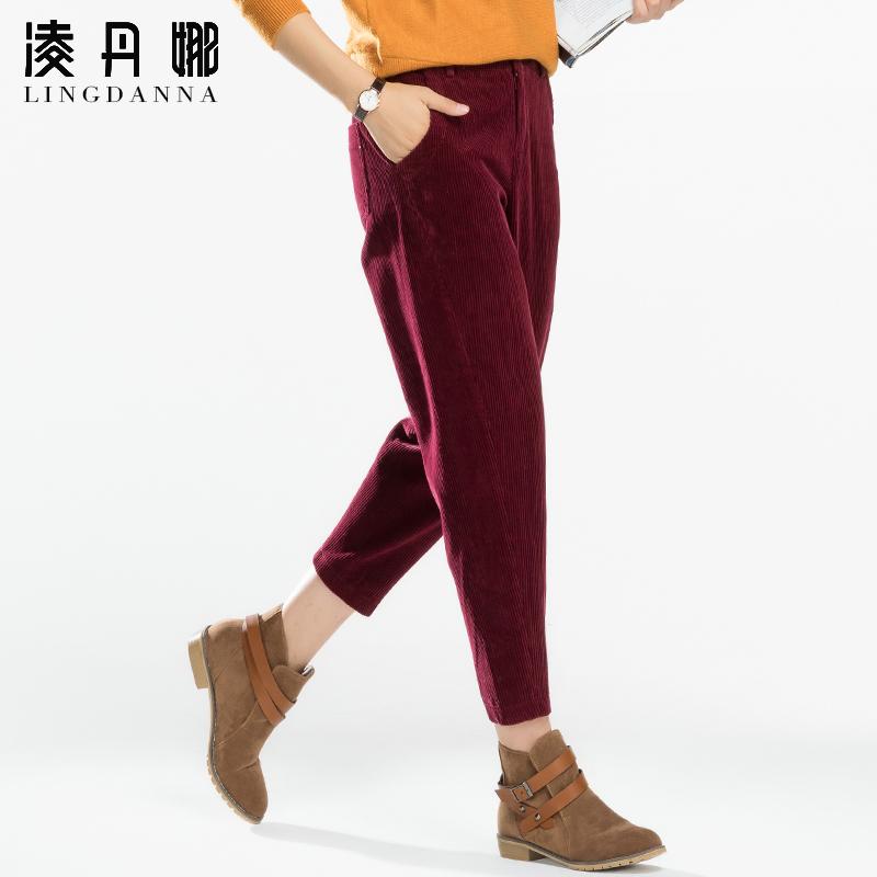 九分条绒裤女灯芯绒女裤宽松哈伦裤9分裤秋季纯棉休闲裤子萝卜裤