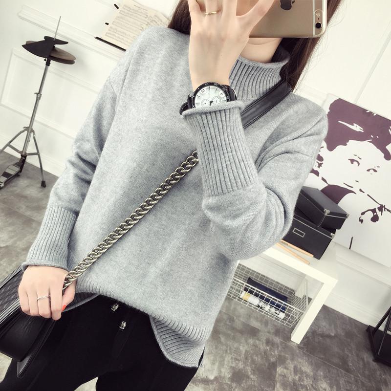 韩版百搭高领纯色长袖加厚针织衫