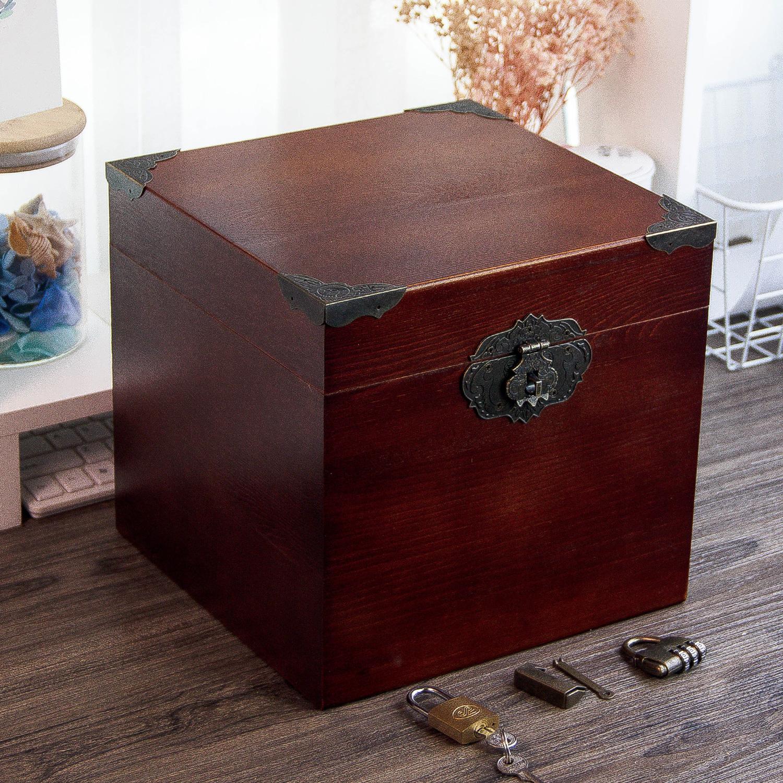 实木带锁书箱复古正方形储物箱v书箱木箱子大号方盒子木质木箱密码
