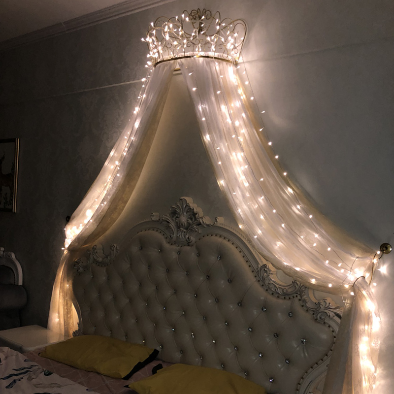 Bed curtain Princess European French girl cute bed curtain curtain decorative curtain Pink Palace with high-grade crown frame