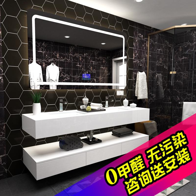 Нордический дерево в ванной шкафы сочетание современный простой ванная комната мыть тайвань мойте руки бассейн умывальник умный зеркальный шкаф сделанный на заказ