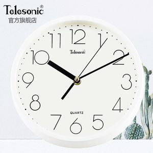 TELESONIC/天王星现代钟表简约圆形壁挂钟时钟静音客厅装饰石英钟