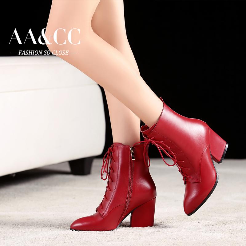 秋冬真皮女鞋及裸靴系带马丁靴女靴高跟粗跟短靴英伦靴大码婚鞋女
