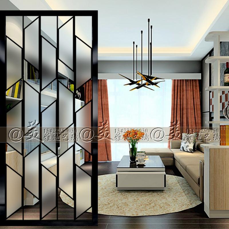 Настоящее время поколение Стиль художественного стекла двухсторонний экран гостиной комнаты перегородки в дверь Поршевая стена простая цветочная сетка