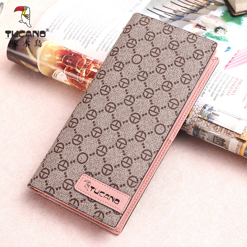 Woodpecker new wallet long long leather wallet 2 fold wallet fashion women's bag Korean version of the tide thin package mail