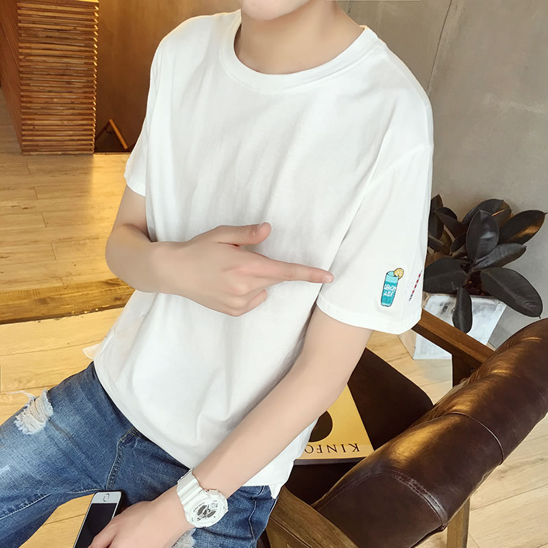 Новый летний t футболки мужской с коротким рукавом свободный белый дикий с коротким рукавом сочувствовать корейский подростков куртка одежда волна
